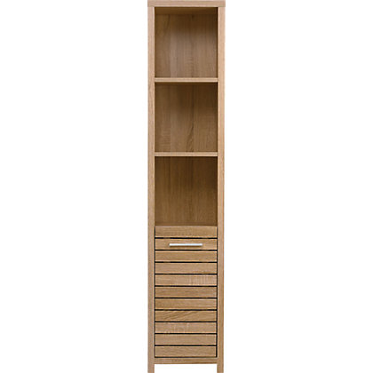 image for skydale tall boy bathroom cabinet slatted wood grain from