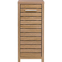 Skydale Single Door Floor Cabinet -  Slatted Wood Grain