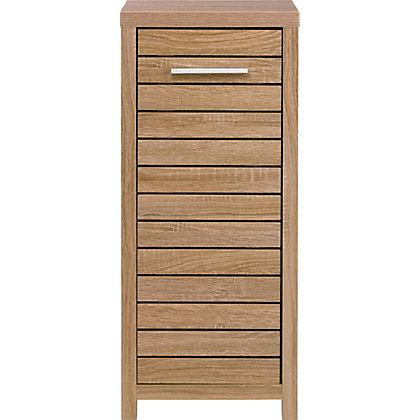 Skydale single door floor cabinet slatted wood grain for Homebase kitchen cabinets