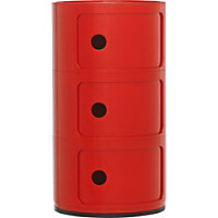 Hygena Cylinder 3 Shelf Storage Unit - Red.