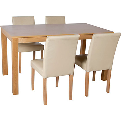 Elmdon Oak 120cm Dining Table And 4 Cream Chairs