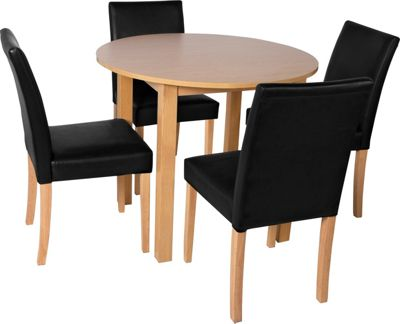 Homebase elmdon oak circular dining table and 4 black for Top rated dining tables