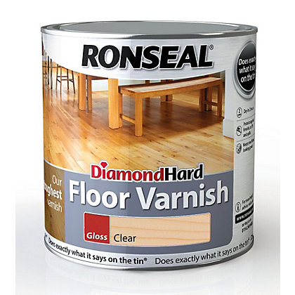 Image for Ronseal Diamond Hard Floor Varnish Gloss Clear- 2.5L from StoreName