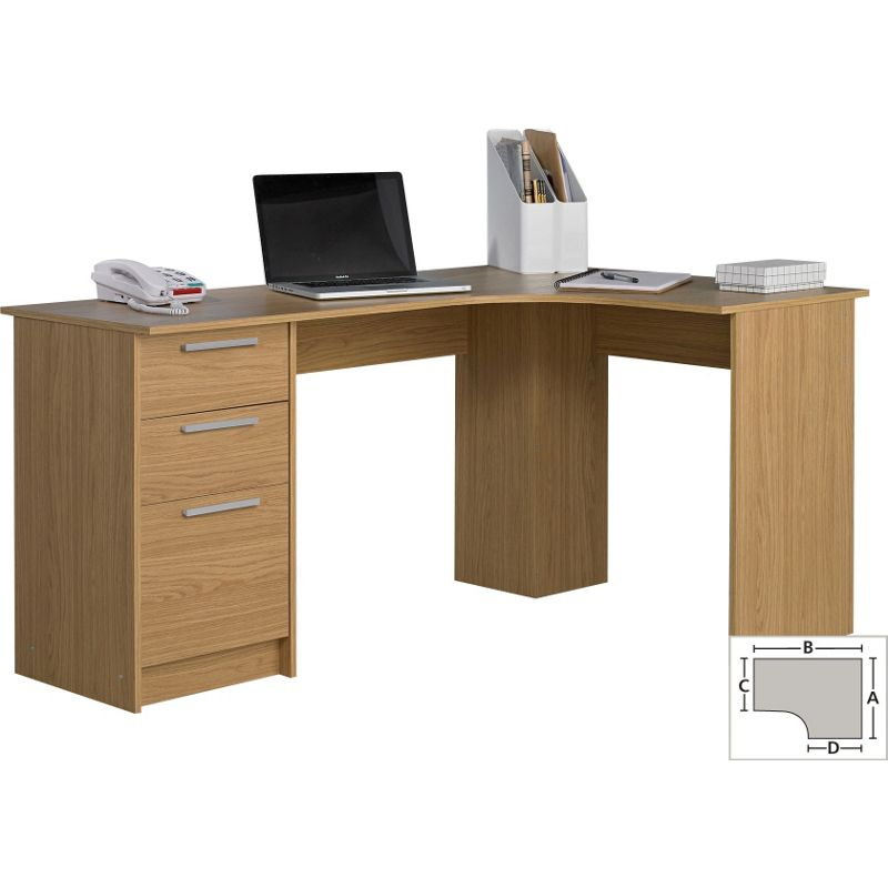 Large corner desk oak effect for Huge corner desk