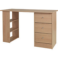 Malibu 3 Drawer Desk - Beech.
