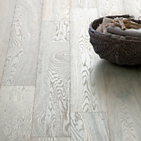 Hygena Soft White Engineered Wood Flooring - 1.44 sq m