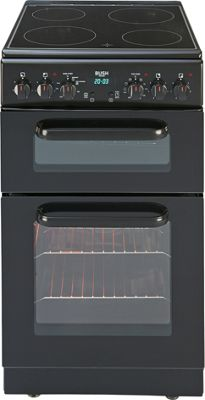 Image of Bush BEDC50B Black Double Electric Cooker - Instal/Del/Rec.
