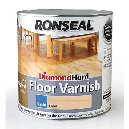 Image for Ronseal Diamond Hard Floor Varnish Satin Clear- 2.5L from StoreName