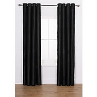 Heart of House Ava Faux Silk Curtains 168x137cm - Black.