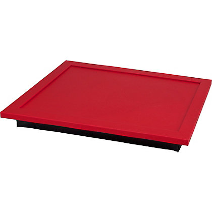 Image for Leather Effect Lap Tray - Black and Red. from StoreName