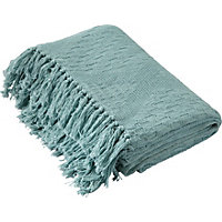 Living Diamond Cotton Throw - Duck Egg.