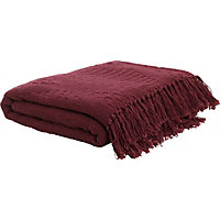 Living Diamond Cotton Throw - Plum.