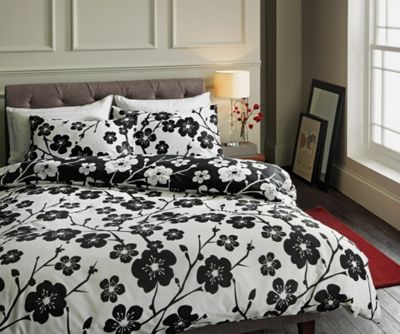 Image of Ella Floral Black and White Bedding Set - Double.
