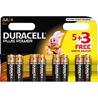 Duracel Plus Power AA Batteries - 5 PLUS 3 Free