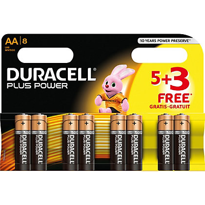 Image for Duracel Plus Power AA Batteries - 5 PLUS 3 Free from StoreName