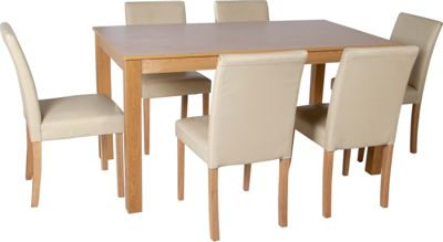 Hygena Amparo Oak Dining Table And 4 Cream Chairs
