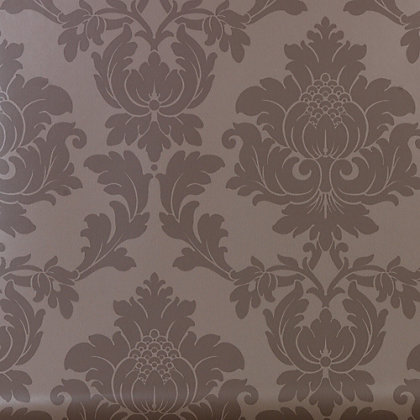 Classics regency damask wallpaper taupe for Wallpaper homebase