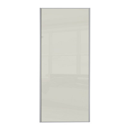Image for Classic Silver Frame Soft White Glass Sliding Door - 610mm from StoreName