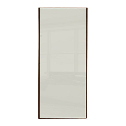 Image for Classic Wood Walnut Frame Soft White Glass Sliding Door - 914mm from StoreName