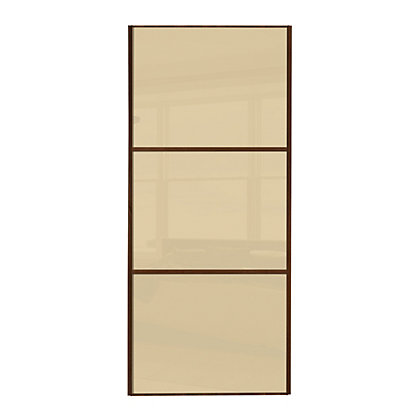 Image for Linear Walnut Frame Cream Glass Sliding Door - 610mm from StoreName