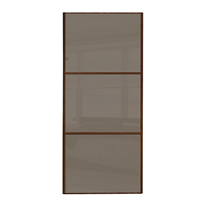 Image for Linear Walnut Frame Cappuccino Glass Sliding Door - 610mm from StoreName