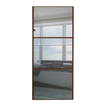 Image for Linear Walnut Frame Mirror Sliding Door - 610mm from StoreName