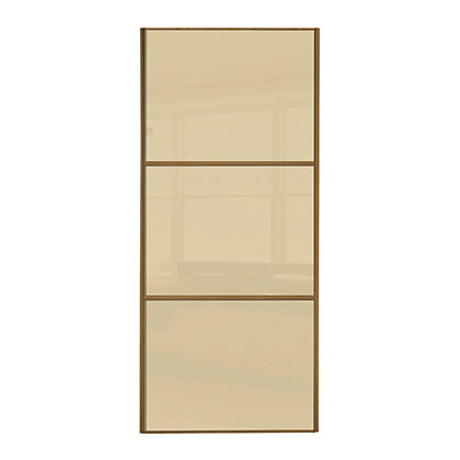 Image for Linear Windsor Oak Frame Cream Glass Sliding Door - 610mm from StoreName