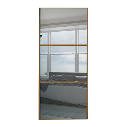 Image for Linear Windsor Oak Frame Mirror Sliding Door - 610mm from StoreName