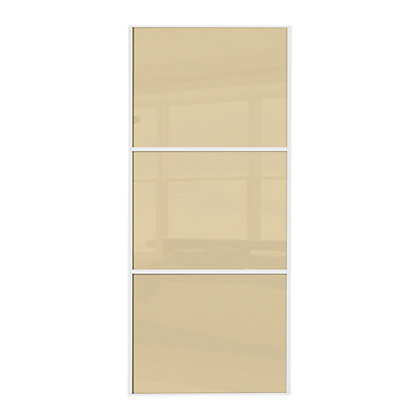 Image for Linear White Wooden Frame Cream Glass Sliding Door - 610mm from StoreName