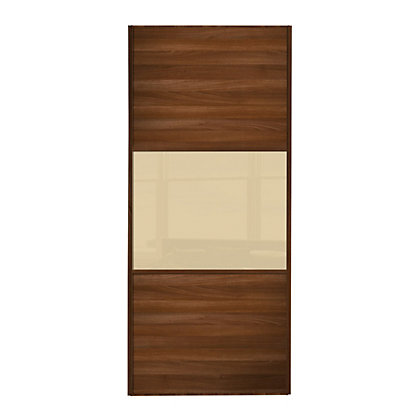 Image for Linear Walnut Panel and Cream Glass Sliding Door - 610mm from StoreName