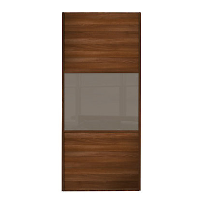 Image for Linear Walnut Panel and Cappuccino Glass Sliding Door - 610mm from StoreName