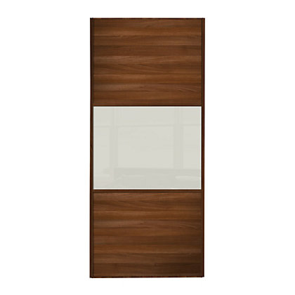 Image for Linear Walnut Panel and Soft White Glass Sliding Door - 610mm from StoreName