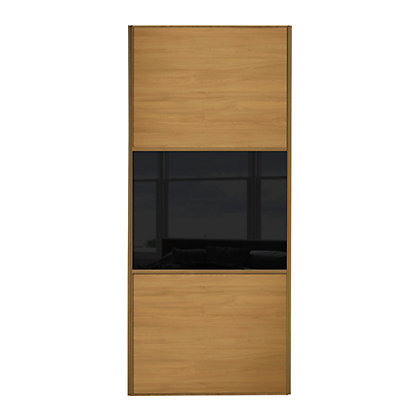 Image for Linear Windsor Oak Panel and Black Glass Sliding Door - 610mm from StoreName