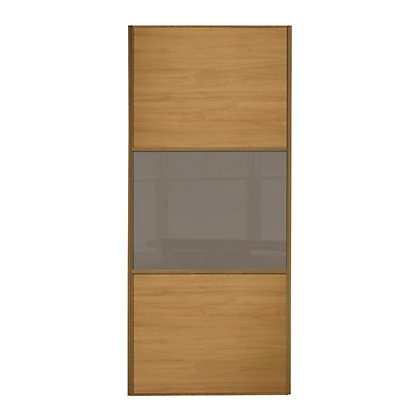 Image for Linear Windsor Oak Panel and Cappuccino Glass Sliding Door - 610mm from StoreName