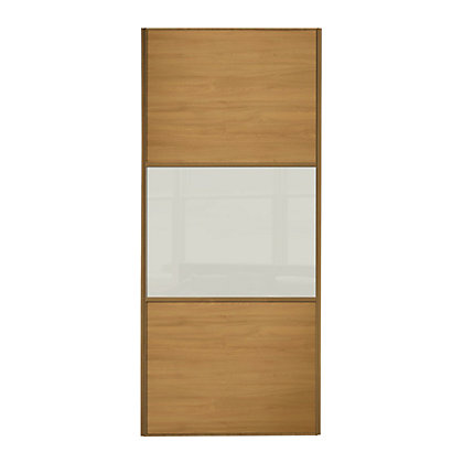 Image for Linear Windsor Oak Panel and Soft White Glass Sliding Door - 610mm from StoreName