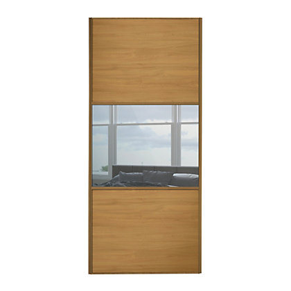Image for Linear Windsor Oak Panel and Mirror Sliding Door - 610mm from StoreName