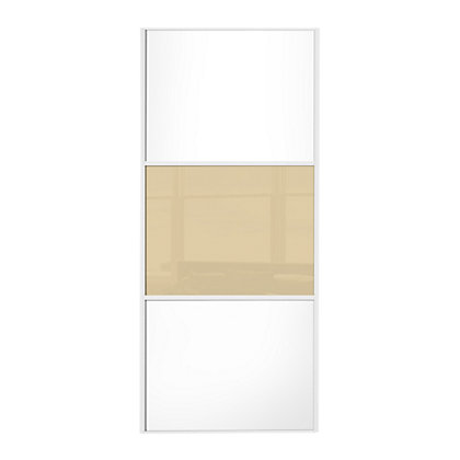 Image for Linear White Wooden Panel and Cream Glass Sliding Door - 610mm from StoreName