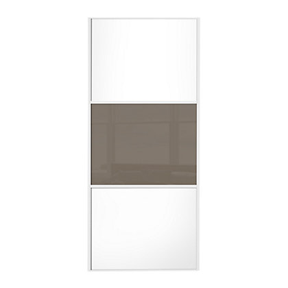 Image for Linear White Wooden Panel and Cappuccino Glass Sliding Door - 610mm from StoreName