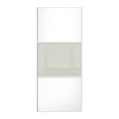 Image for Linear White Wooden Panel and Soft White Glass Sliding Door - 610mm from StoreName