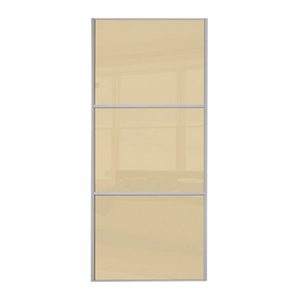 Image for Linear Silver Frame Cream Glass Sliding Door - 762mm from StoreName