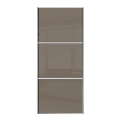 Image for Linear Silver Frame Cappuccino Glass Sliding Door - 762mm from StoreName