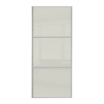 Image for Linear Silver Frame Soft White Glass Sliding Door - 762mm from StoreName
