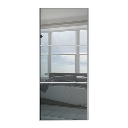 Image for Linear Silver Frame Mirror Sliding Door - 762mm from StoreName