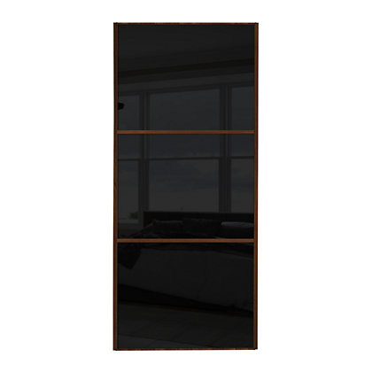 Image for Linear Walnut Frame Black Glass Sliding Door - 762mm from StoreName
