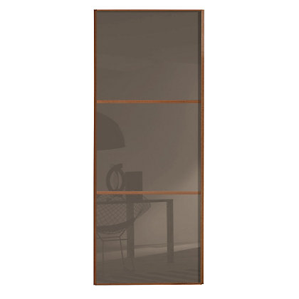 Image for Linear Walnut Frame Cappuccino Glass Sliding Door - 762mm from StoreName