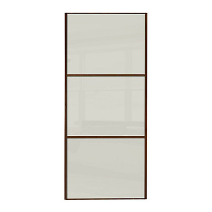 Image for Linear Walnut Frame Soft White Glass Sliding Door - 762mm from StoreName