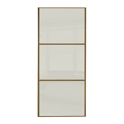 Image for Linear Windsor Oak Frame Soft White Glass Sliding Door - 762mm from StoreName