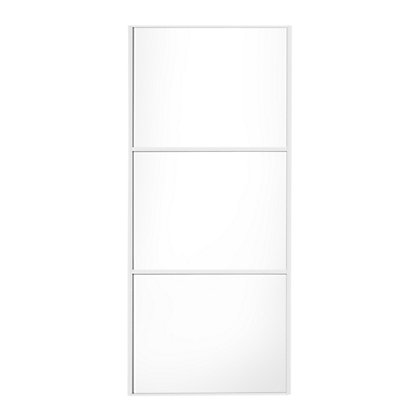 Image for Linear White Wooden Frame White Wooden Panel Sliding Door - 762mm from StoreName