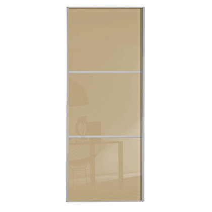 Image for Linear Silver Frame Cream Glass Sliding Door - 914mm from StoreName