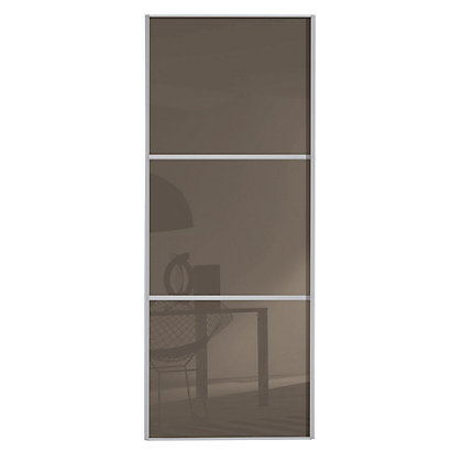 Image for Linear Silver Frame Cappuccino Glass Sliding Door - 914mm from StoreName